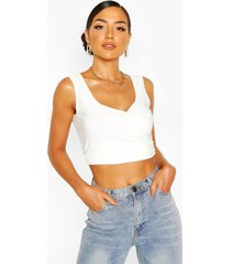 double slinky wrap front crop top, ivory