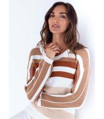 suéter tejido para mujer manga larga con bloques de color
