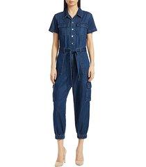 alice + olivia women's denim cargo jumpsuit - dare her - size 24 (0)