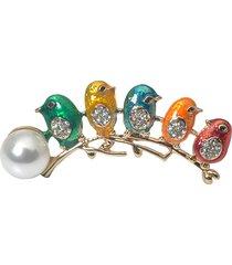 simpatici uccelli che saltano sugli alberi camicetta cappotto spille colorful spille con perle di uccelli per le donne