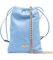 moschino sheepskin drawstring pouch bag - blue