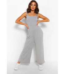 tie shoulder jersey jumpsuit, grey marl