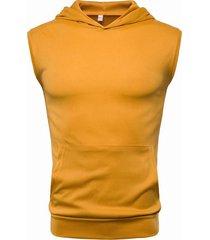 camiseta de color sólido de verano top moda cómoda camiseta sin mangas con capucha