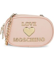 love moschino women's oval crossbody bag - pink rose