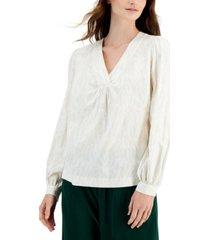 alfani printed blouson-sleeve top, created for macy's