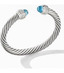 david yurman cable classics bracelet with semiprecious stones & diamonds, 7mm, size medium in silver/diamond/blue topaz at nordstrom