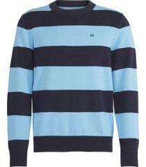 ckj stripes cotton sweater azul calvin klein