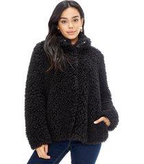 abrigo peludo mujer negro corona