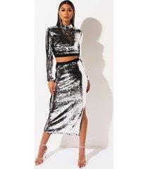 akira disco girl sequin midi skirt