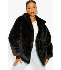 gewatteerde faux fur jas, black