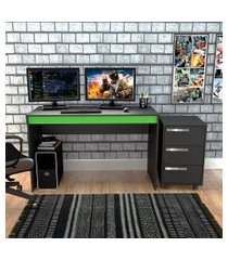 conjunto de mesa gamer hype com gaveteiro cruze 3 gv preto e verde