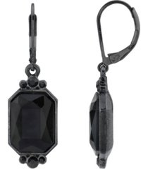 2028 black-tone octagon drop earrings