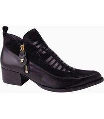ankle boot couro dina mirtz feminino - feminino