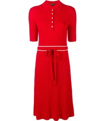cashmere in love cashmere blend ribbed knit dress - red