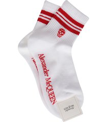 alexander mcqueen white and red cotton socks