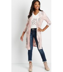 maurices womens pink tie dye open front duster cardigan