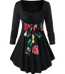 plus size belted floral t-shirt
