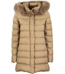 herno ultra-light asymmetrical down jacket with fur