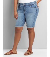 lane bryant women's signature fit denim bermuda short - light wash 16 light denim