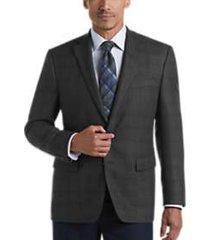 lauren by ralph lauren gray & black windowpane classic fit sport coat