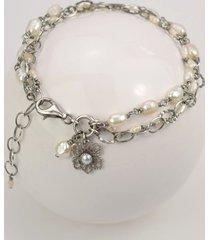 białe perły w srebrze - bransoletka