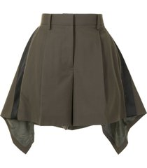sacai asymmetric-hem shorts