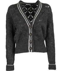brunello cucinelli mohair and wool blend cardigan anthracite