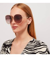 gucci women's oversizsed metal frame sunglasses - gold/brown