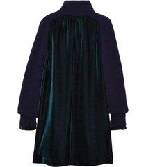 wool velvet panelled dress