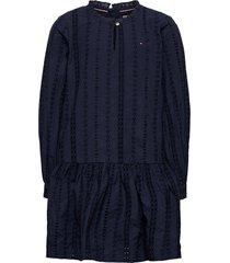 embroidery anglais d jurk blauw tommy hilfiger