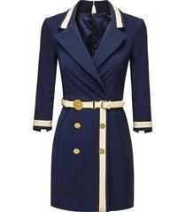 jurk met riem marina  blauw