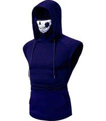 mask skull hooded pullover vest