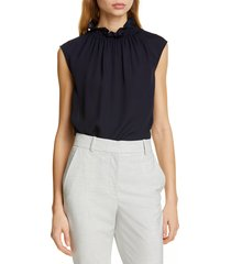 women's tailored by rebecca taylor ruffle neck silk georgette top, size x-large - blue