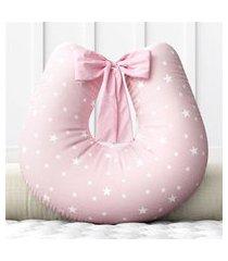 almofada amamentação estrelinhas rosa c/ zíper grão de gente rosa