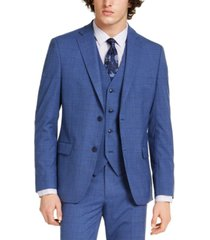alfani men's slim-fit stretch medium blue plaid suit jacket, created for macy's