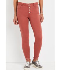 maurices womens jeans cool comfort red high rise button fly jegging