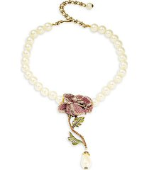 faux pearl & crystal rose necklace