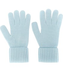 n.peal ribbed cashmere gloves - blue