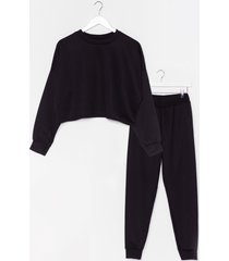 womens work things out sweater and joggers lounge set - black