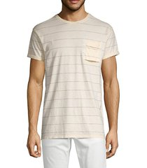 striped cotton-blend pocket tee