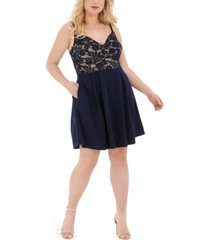 b darlin trendy plus size lace-top a-line dress