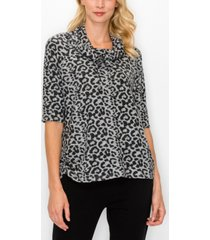 women's cozy cowl neck side ruched top