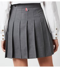 thom browne women's mini dropped back pleated skirt - med grey - it 40/uk 8