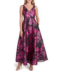 tahari asl sweetheart-neck metallic jaquard gown