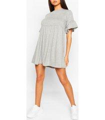 frill sleeve smock dress, grey marl