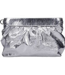 isabel marant miniluz clutch in silver leather