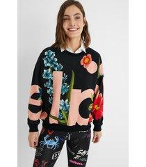 plush sweatshirt flowers - black - m