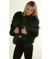 dark green finland blue fox fur jacket winter coat luxury fur outwear wedding