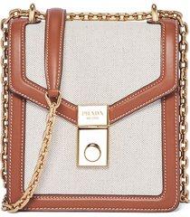 prada linen shoulder bag - brown