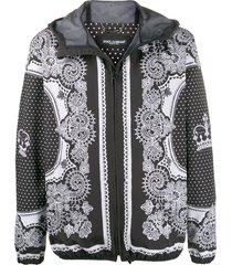 dolce & gabbana bandana print bomber jacket - black